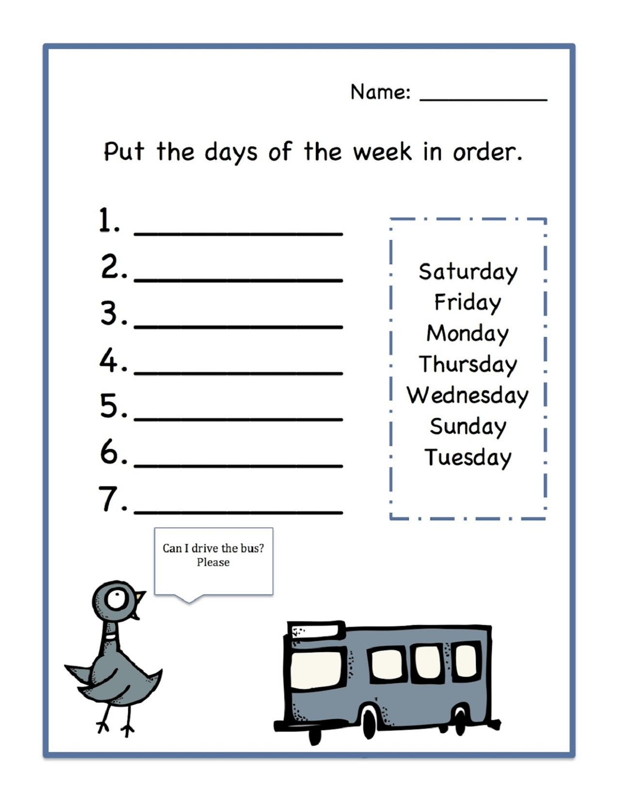 Days of the Week Worksheets Order