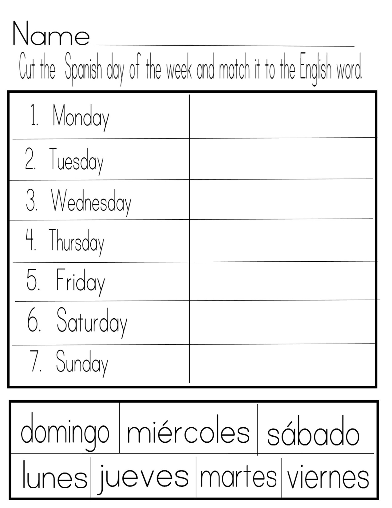 Days of week worksheet