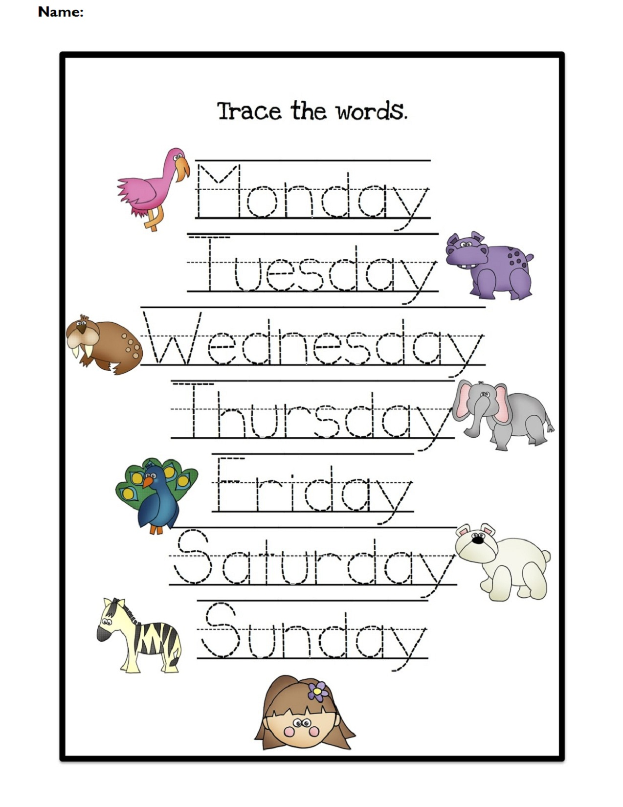 Days of the Week Worksheets Trace the Words