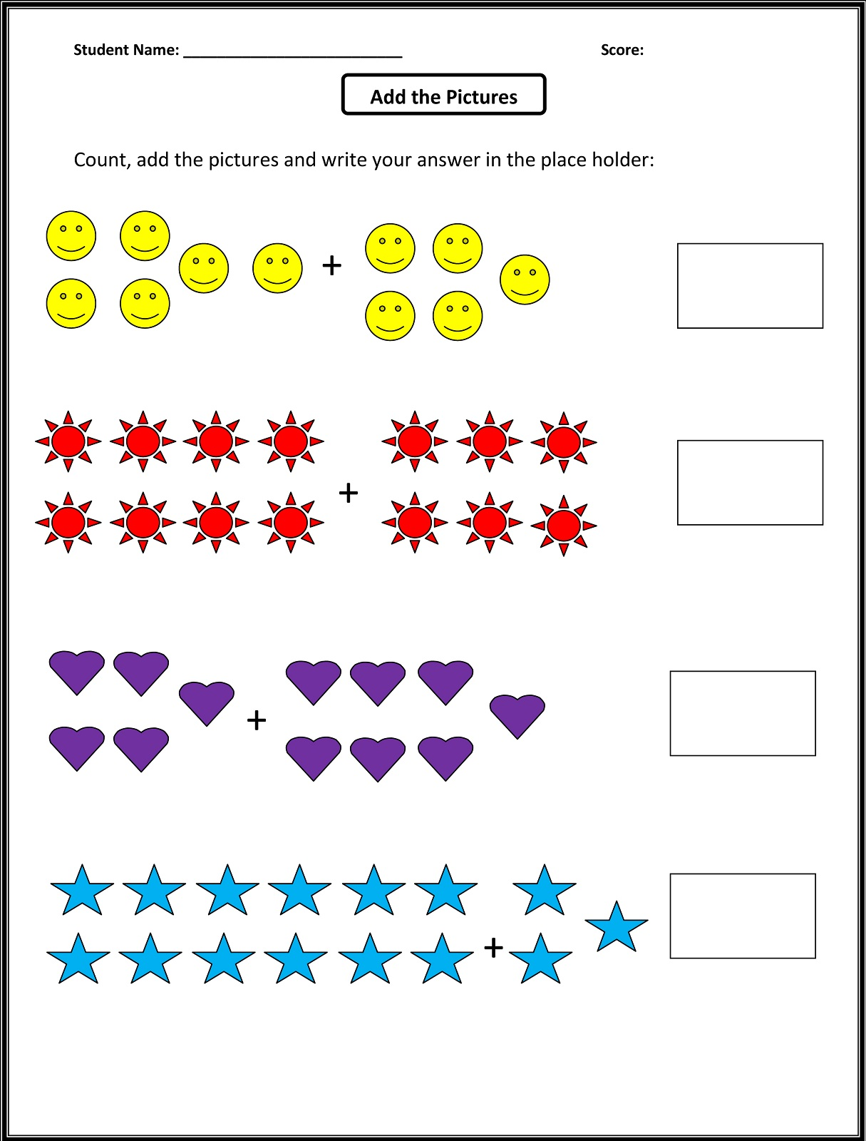 Math color worksheets for 1st grade - Image Via Mathworksheets4kids Com