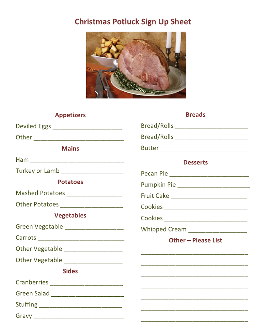 Potluck Sign Up Sheet Templates | Activity Shelter