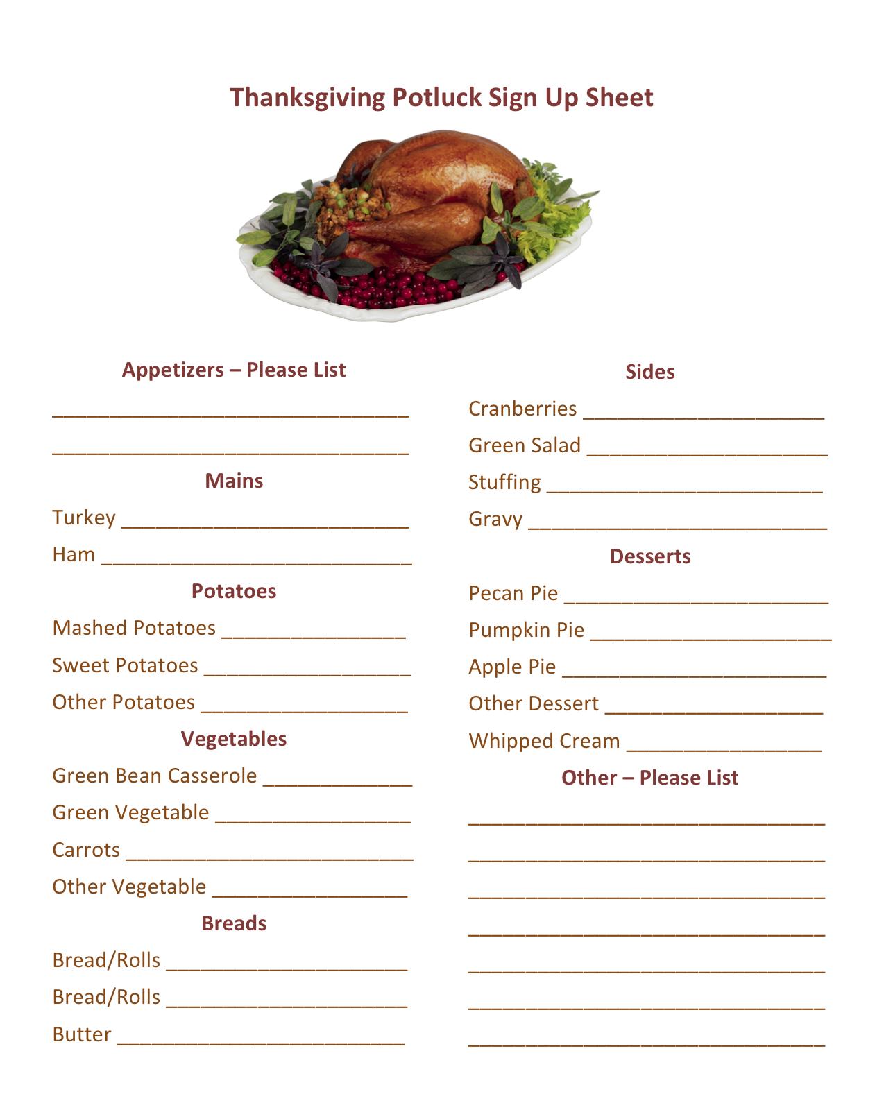 potluck sign up sheet templates