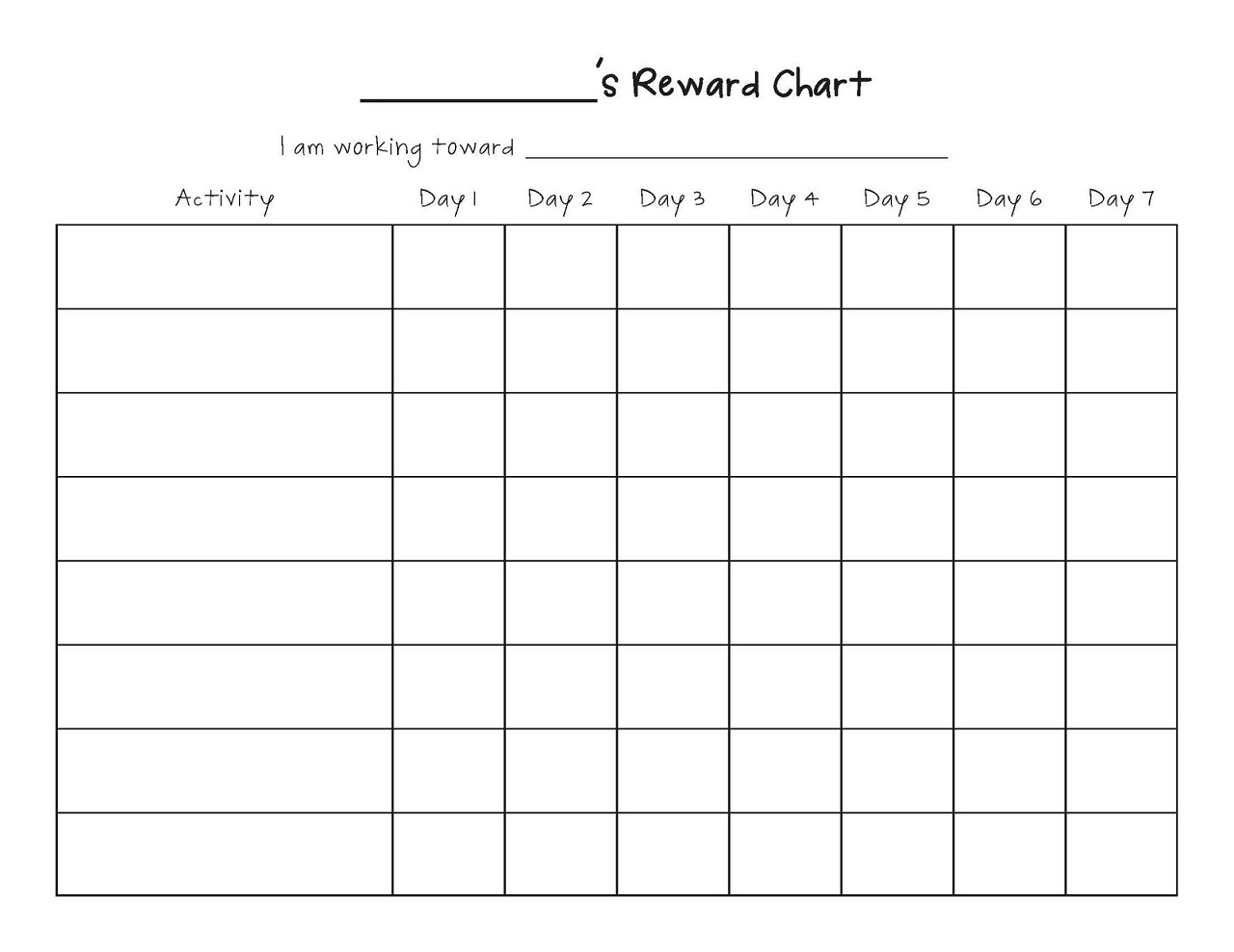 Printable reward chart template activity shelter for Behaviour log template