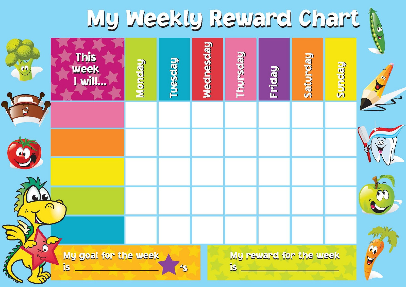 It is an image of Monster Rewards Chart Template