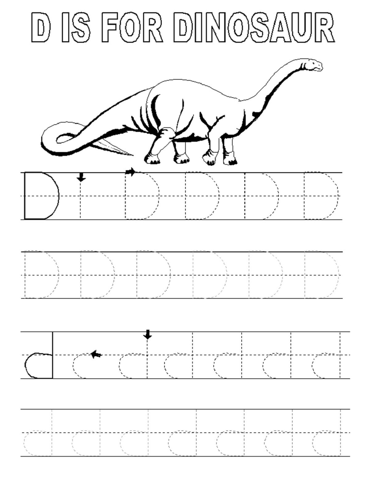 traceable letter worksheets D Dinosaur