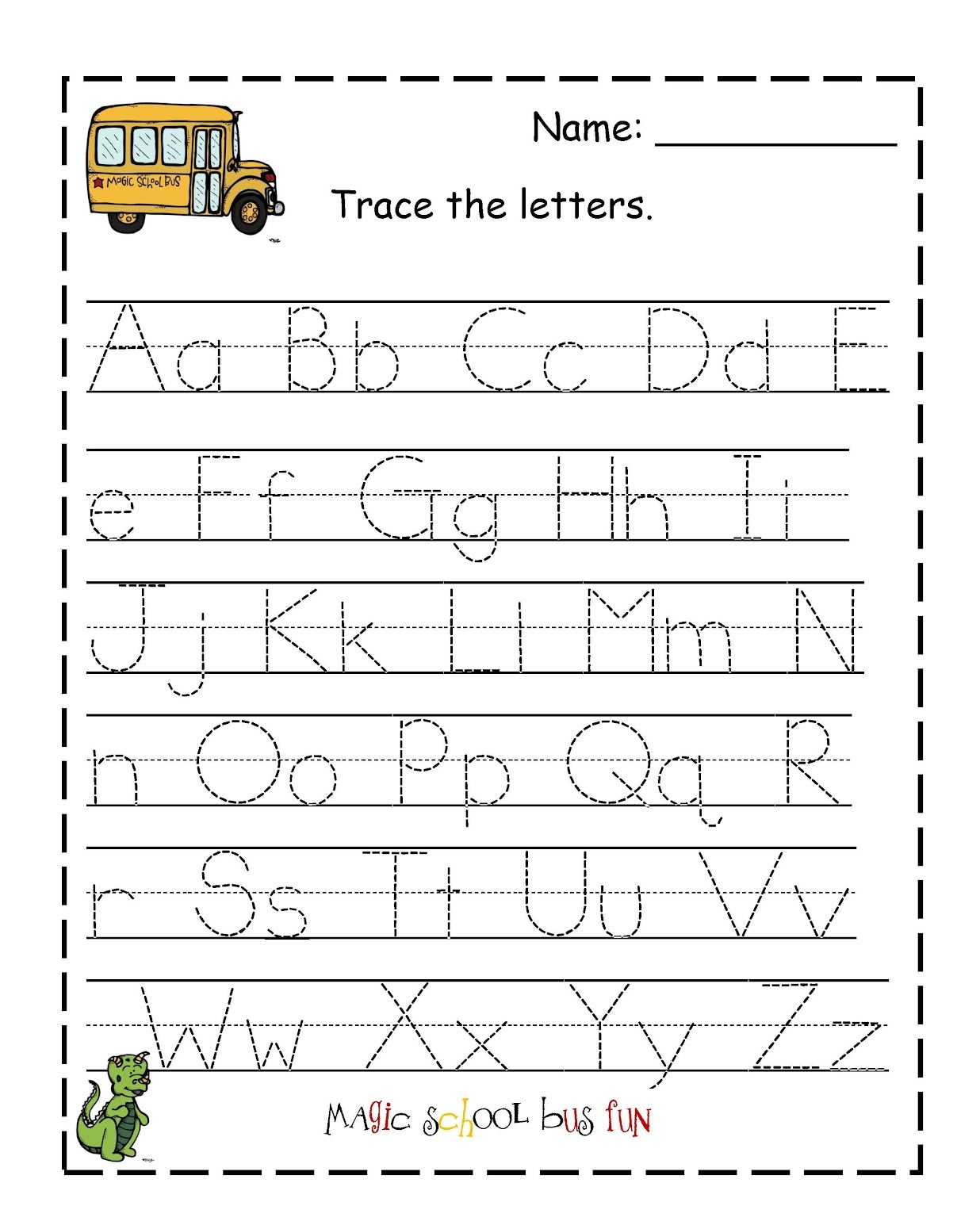 traceable letter worksheets printable for kids