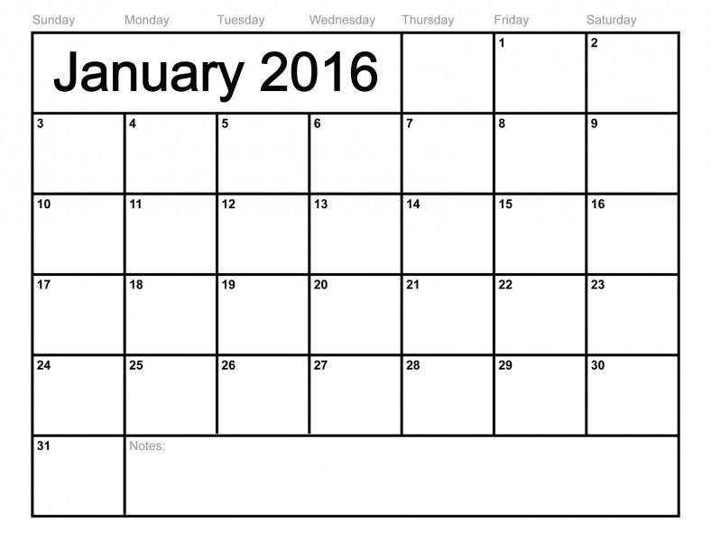2016 Blank Calendars to Print January – Activity Shelter