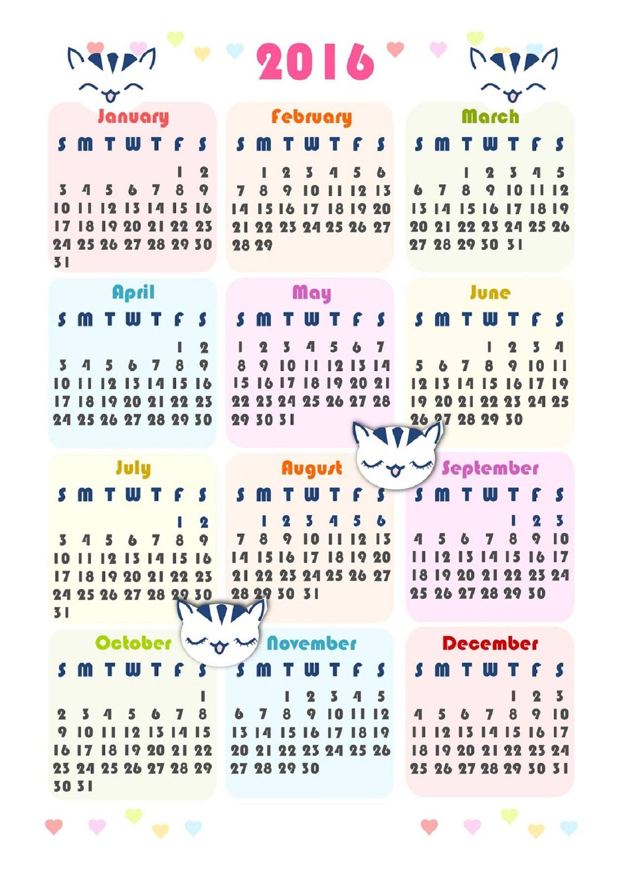 2016 Calendar Printable One Page Activity Shelter
