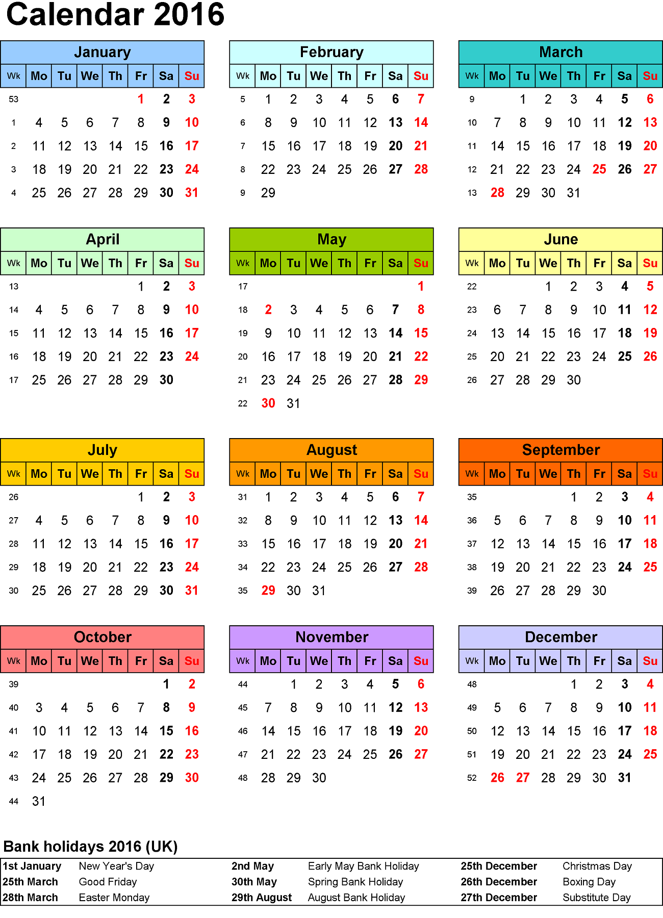 2016 Calendar Printable One Page | Activity Shelter