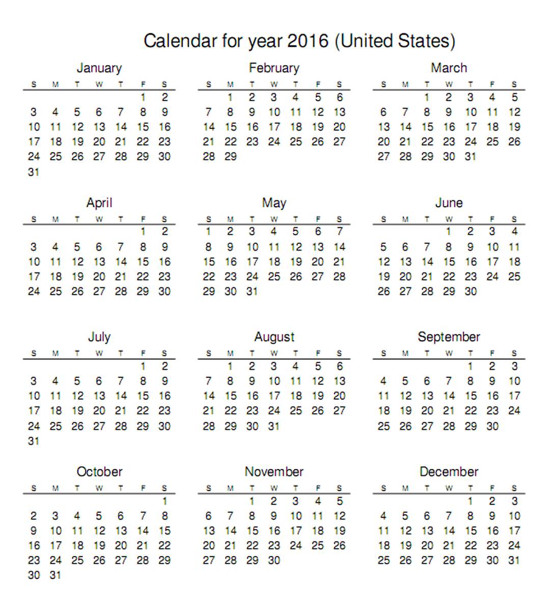 Year Calendar On Page : Calendar printable one page activity shelter