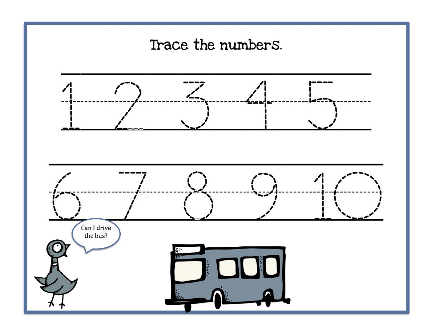 Traceable Numbers 1-10 Worksheets to Print | Activity Shelter