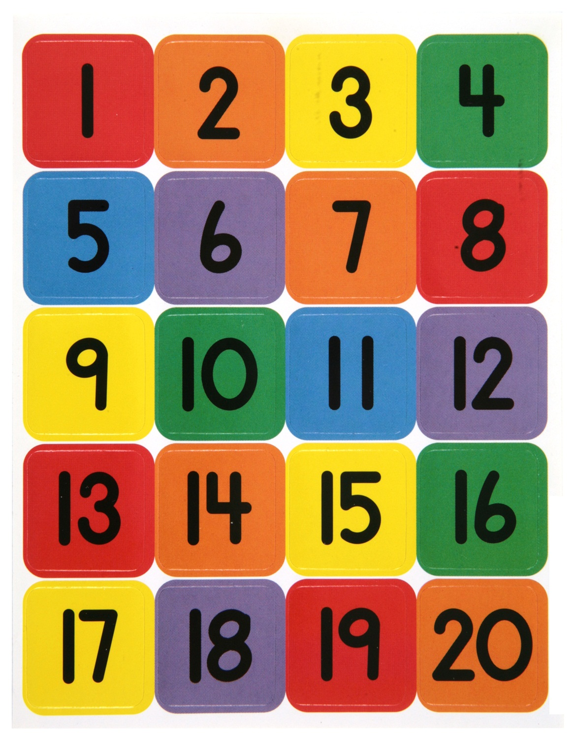 1-20 Number Chart For Preschool