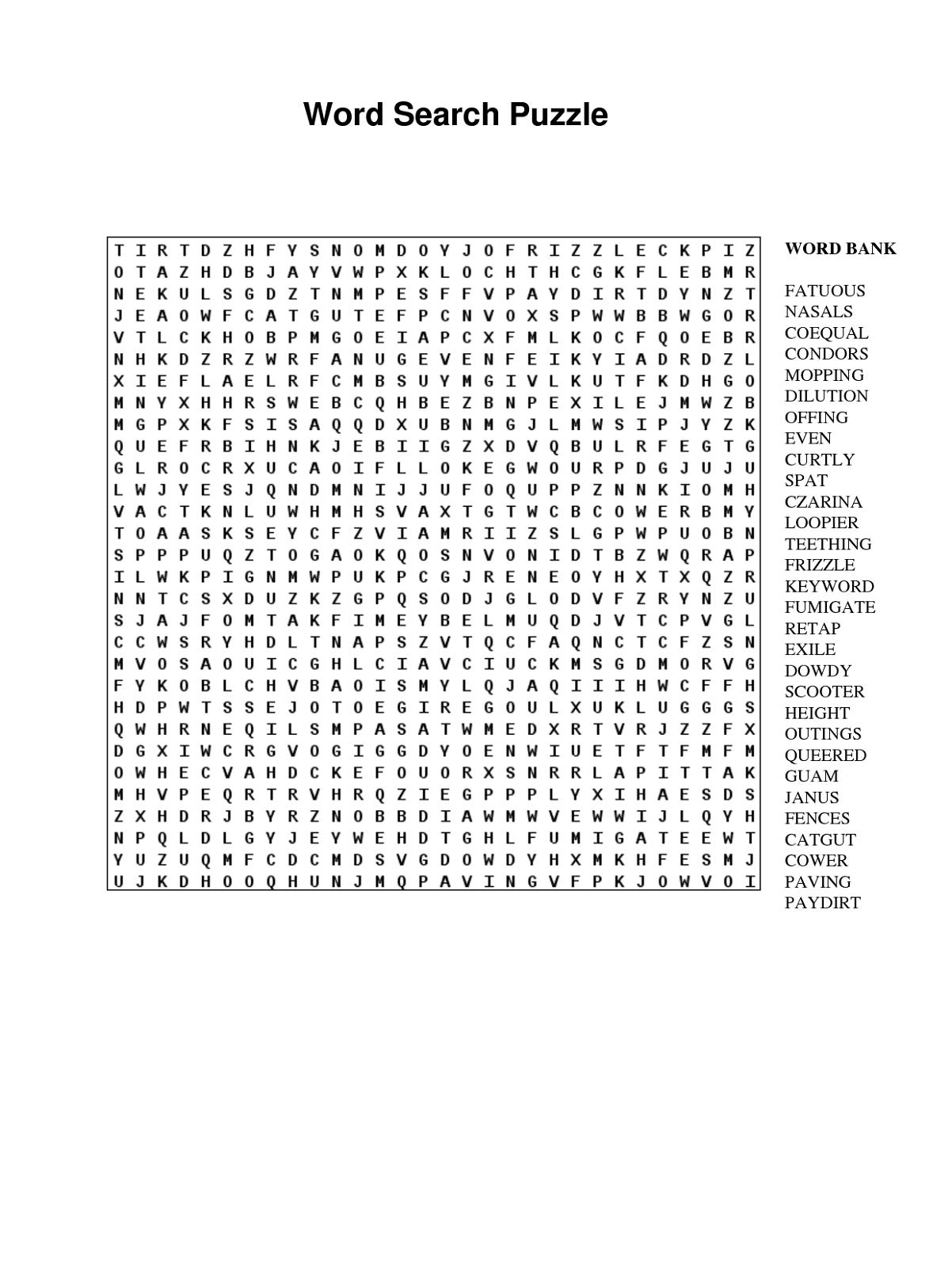 Puzzle words printable