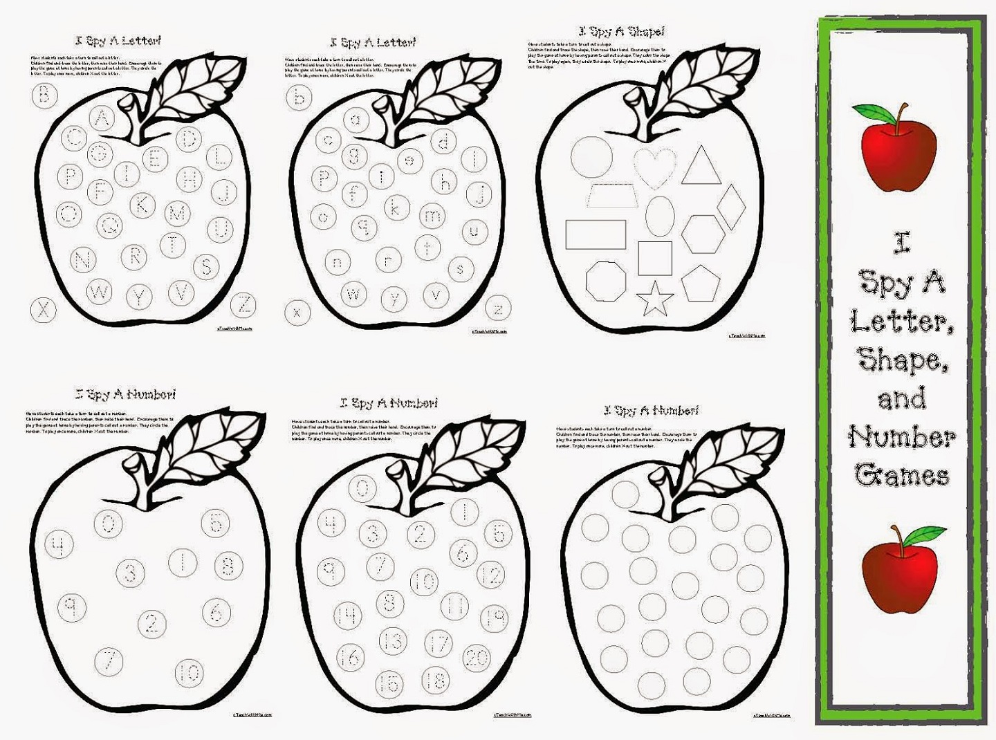 Shapes and Numbers Worksheets games