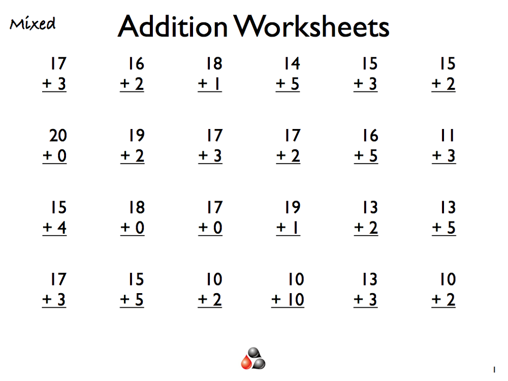 Addition math worksheets for grade 1