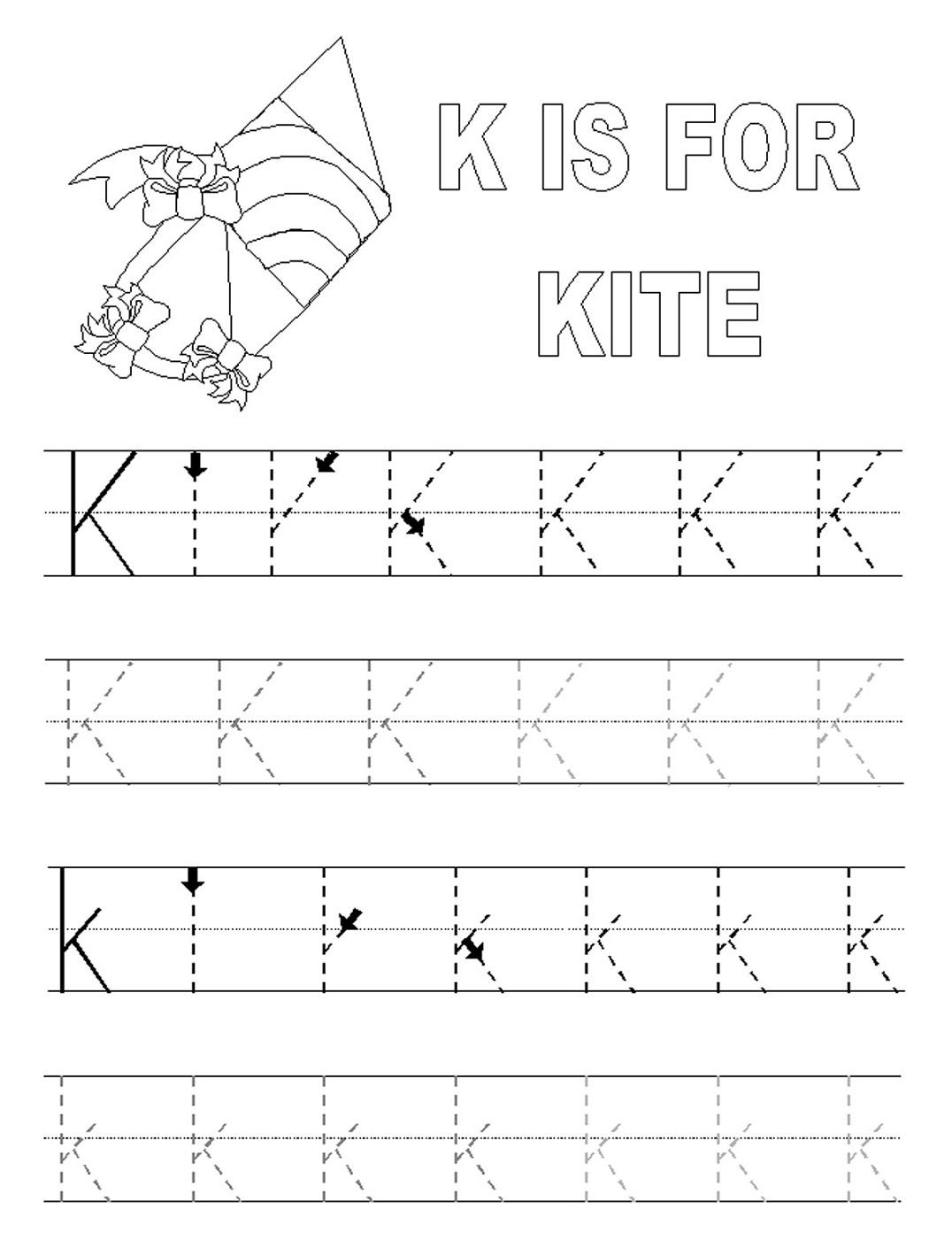 alphabet tracing printables kite