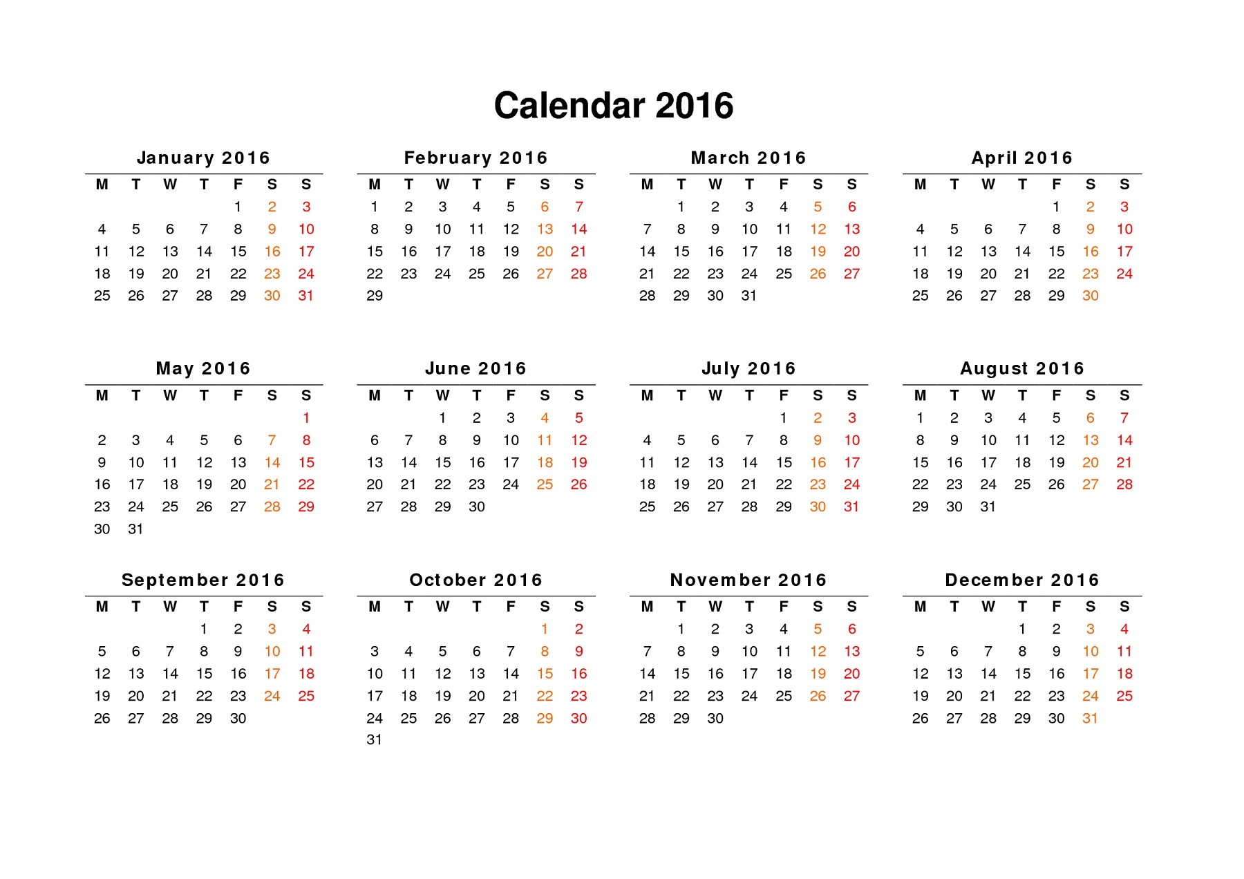 Calendar 2016 To Print