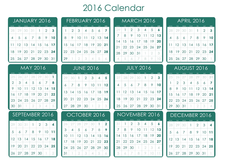 calendar 2016 green