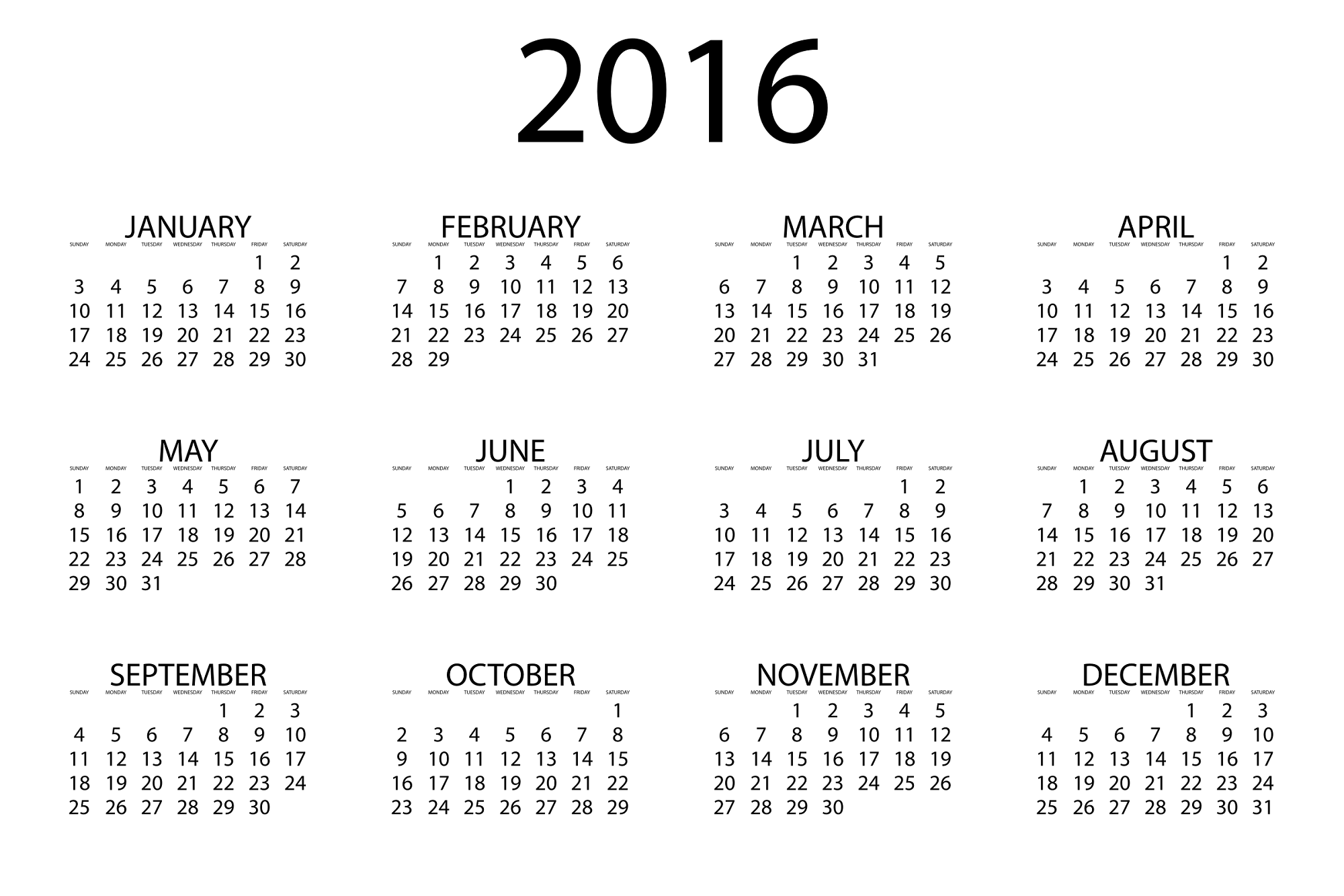 calendar 2016 to print activity shelter