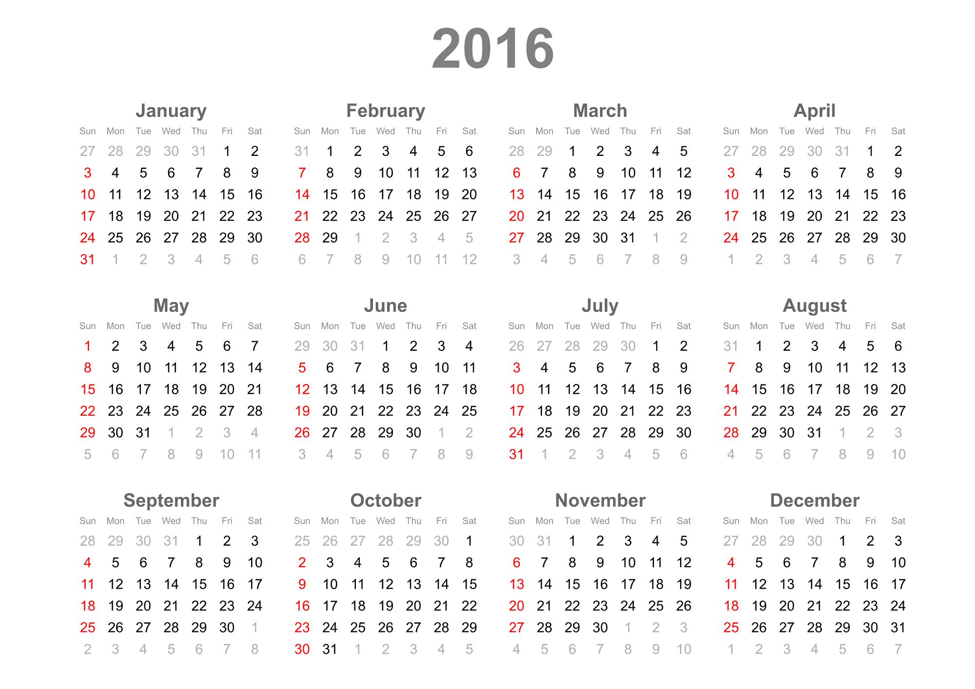 calendar 2016 simple