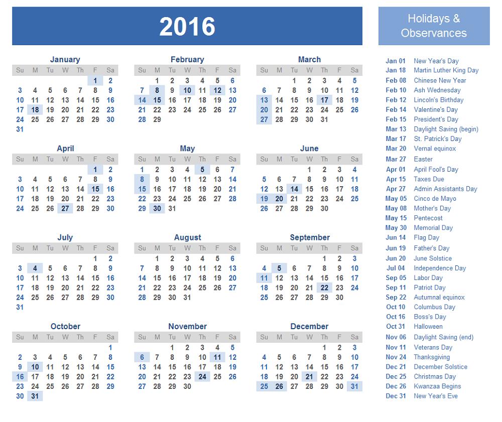 calendar 2016 with holidays