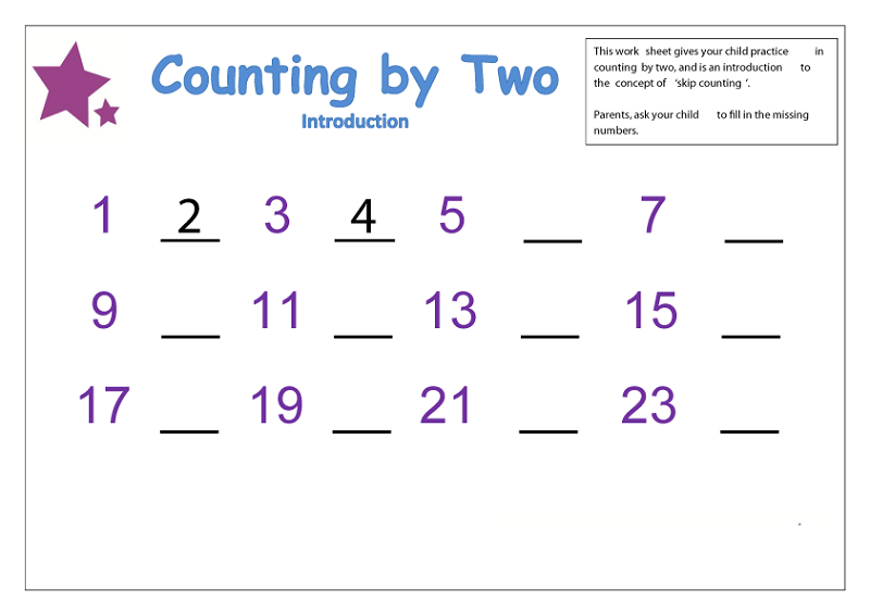 count by 2 worksheet preschool