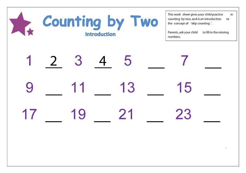 count by 2 worksheet preschool