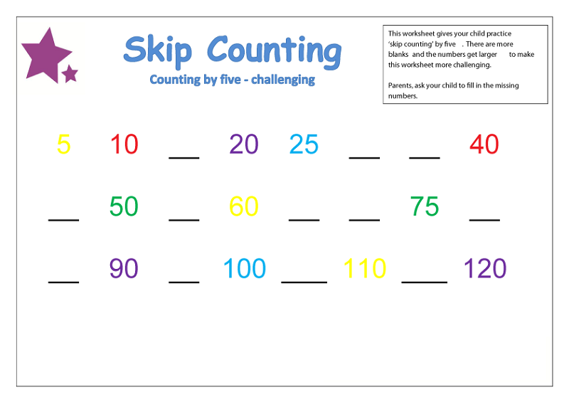 count by 5 worksheet for kids