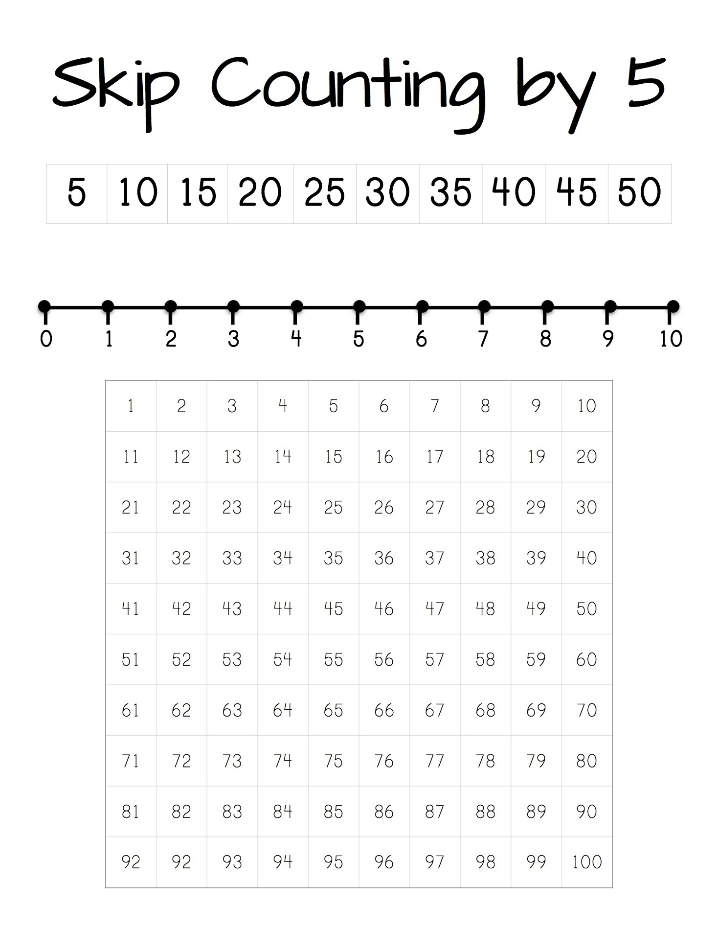 count by 5 worksheet simple