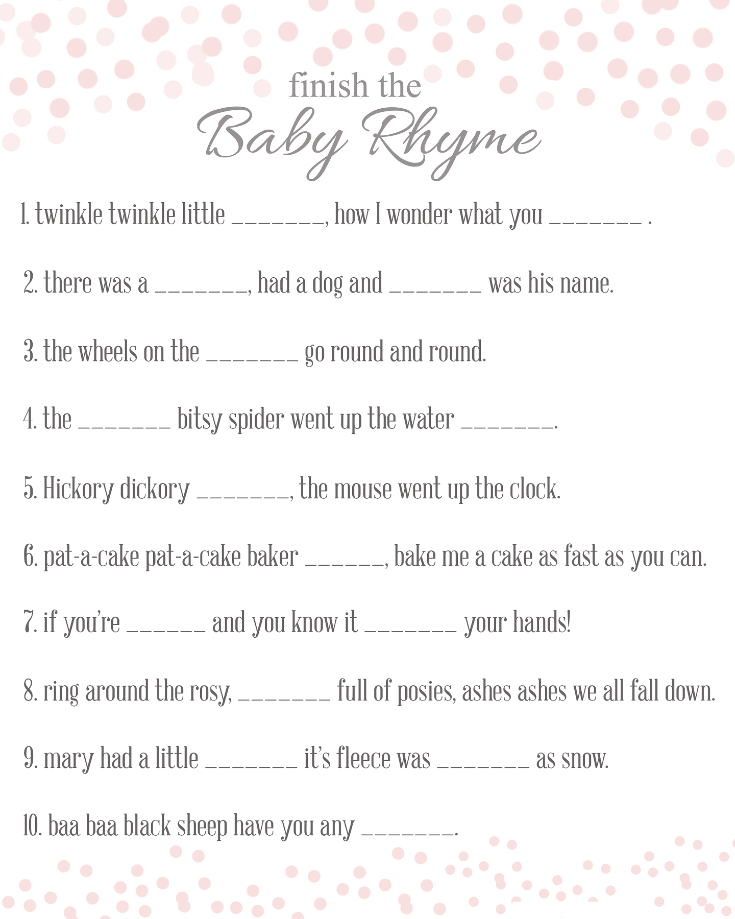 Free Baby Shower Games Printouts Activity Shelter