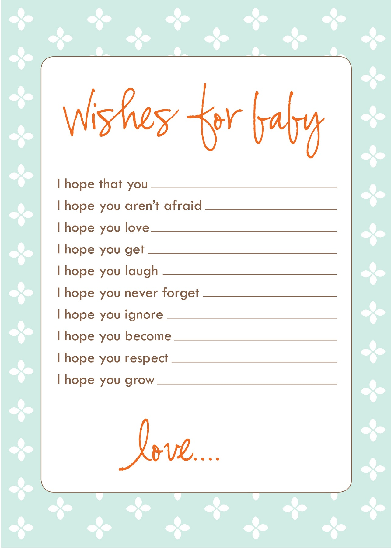 Free baby shower games printouts activity shelter for Wishes for baby template printable