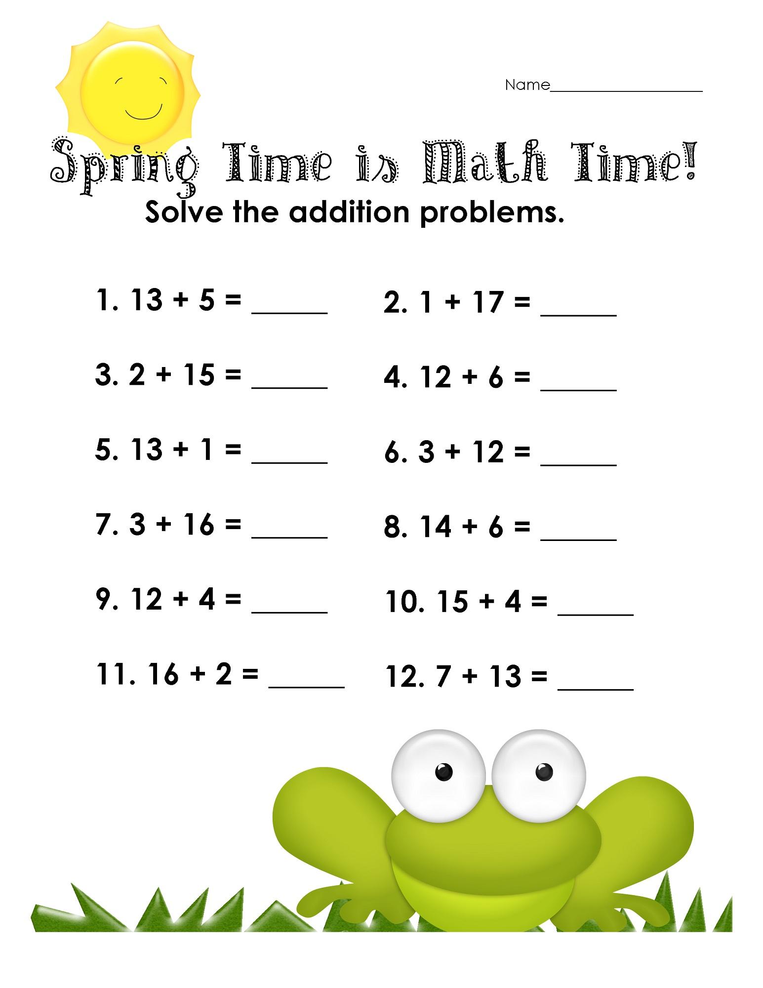 fun math sheets new