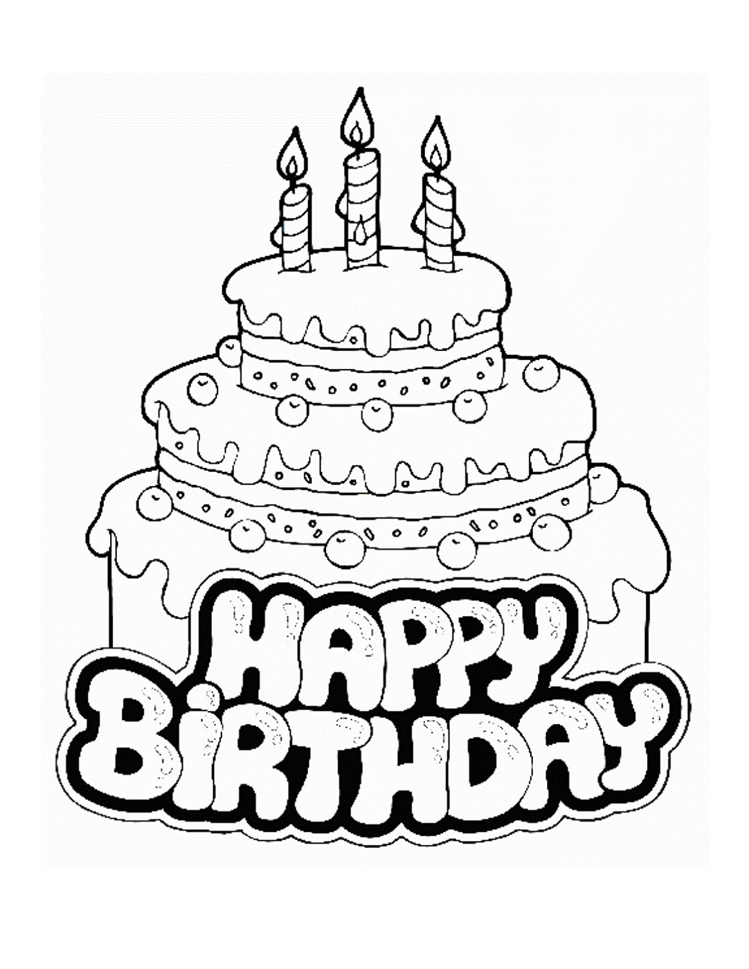 Birthday cake maths facts colouring page - Happy Birthday Color Pages Cake