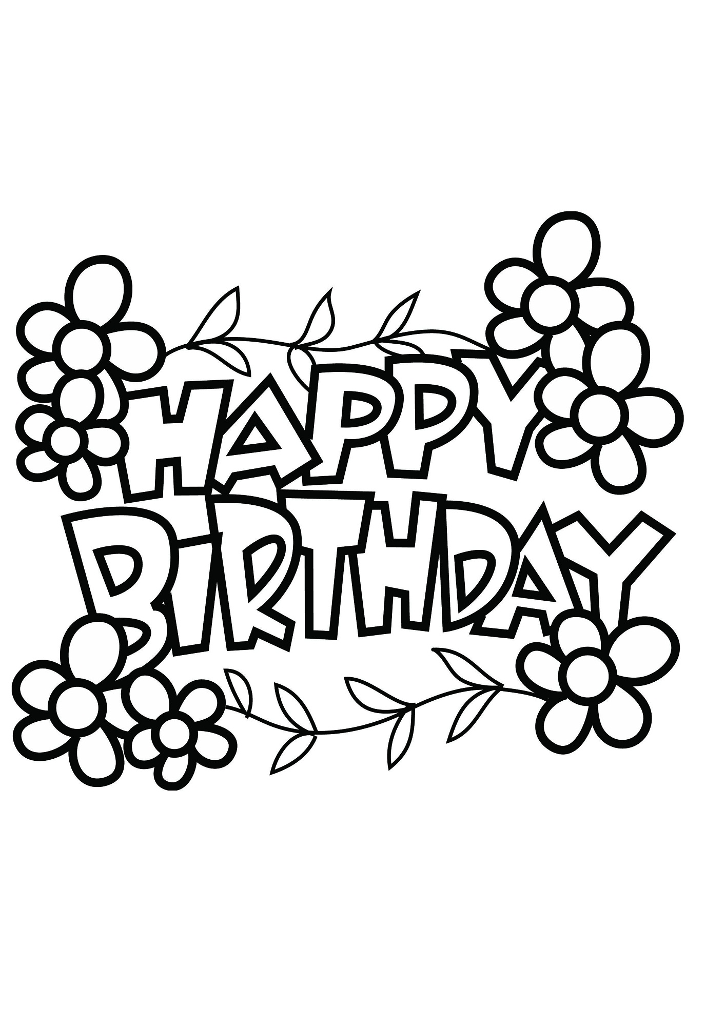 Birthday cake maths facts colouring page - Happy Birthday Color Pages Flower