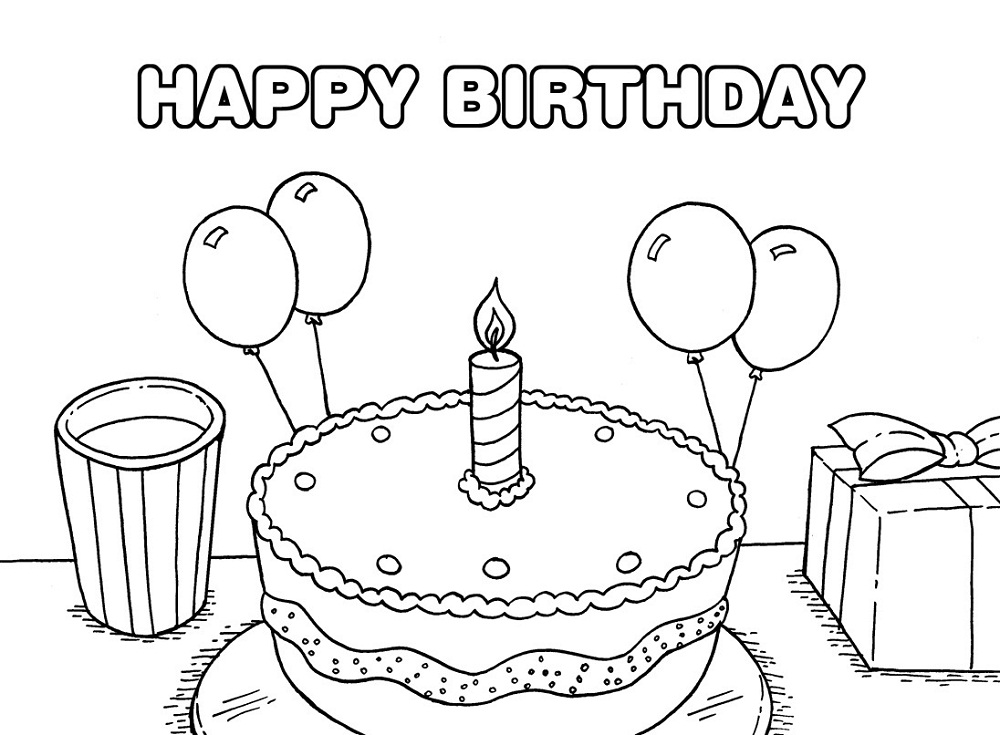 happy birthday color pages printable