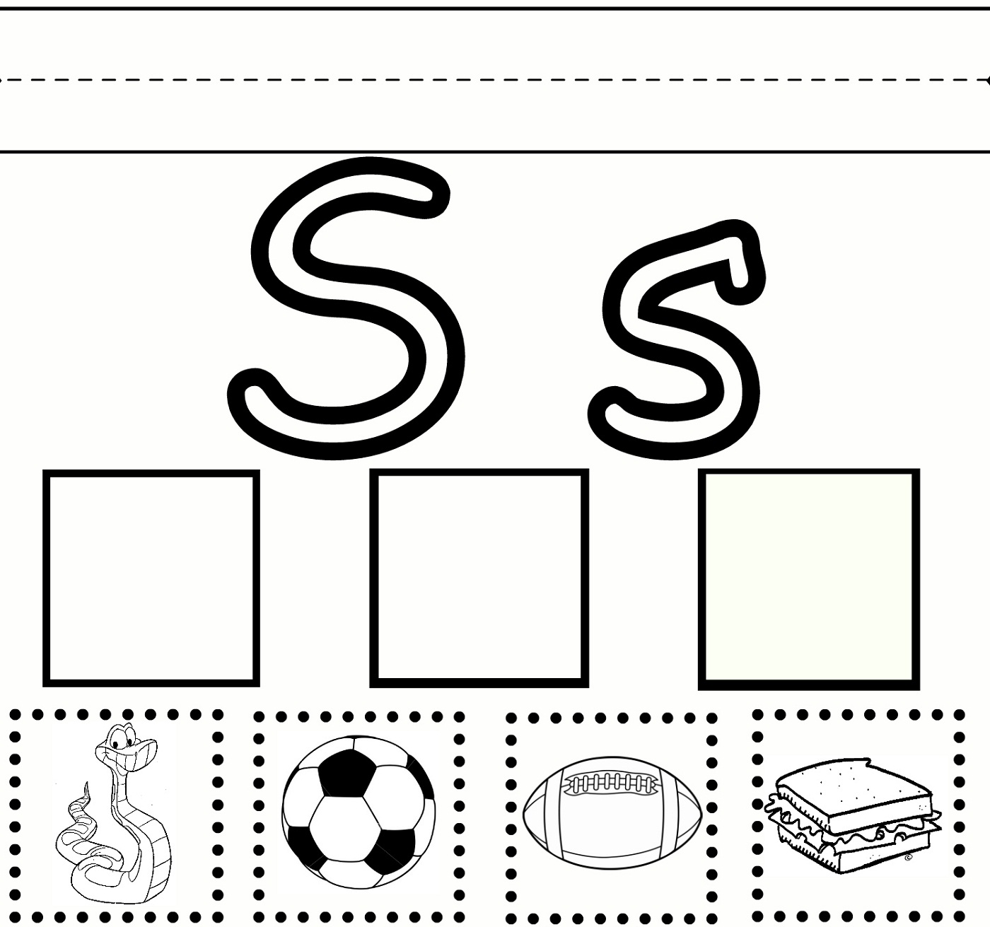 letter s worksheet for kids
