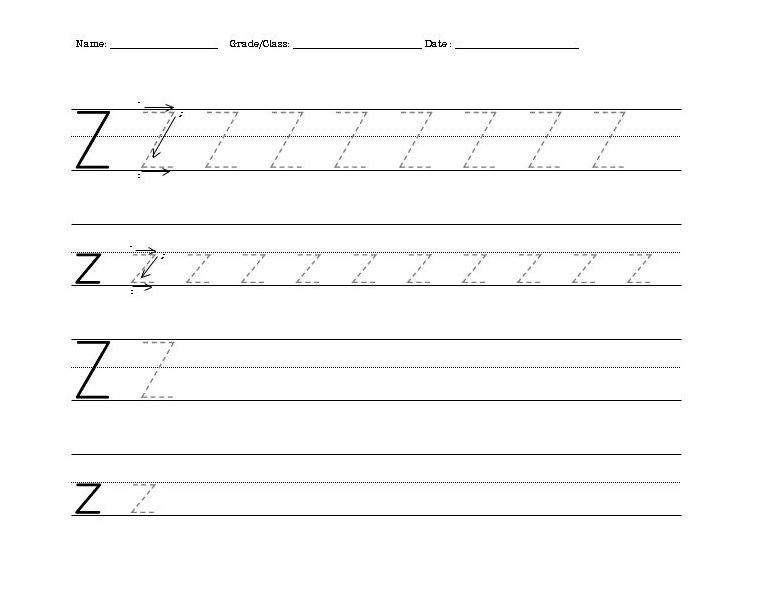Letter Z Worksheets for Kindergarten – Letter Z Worksheet