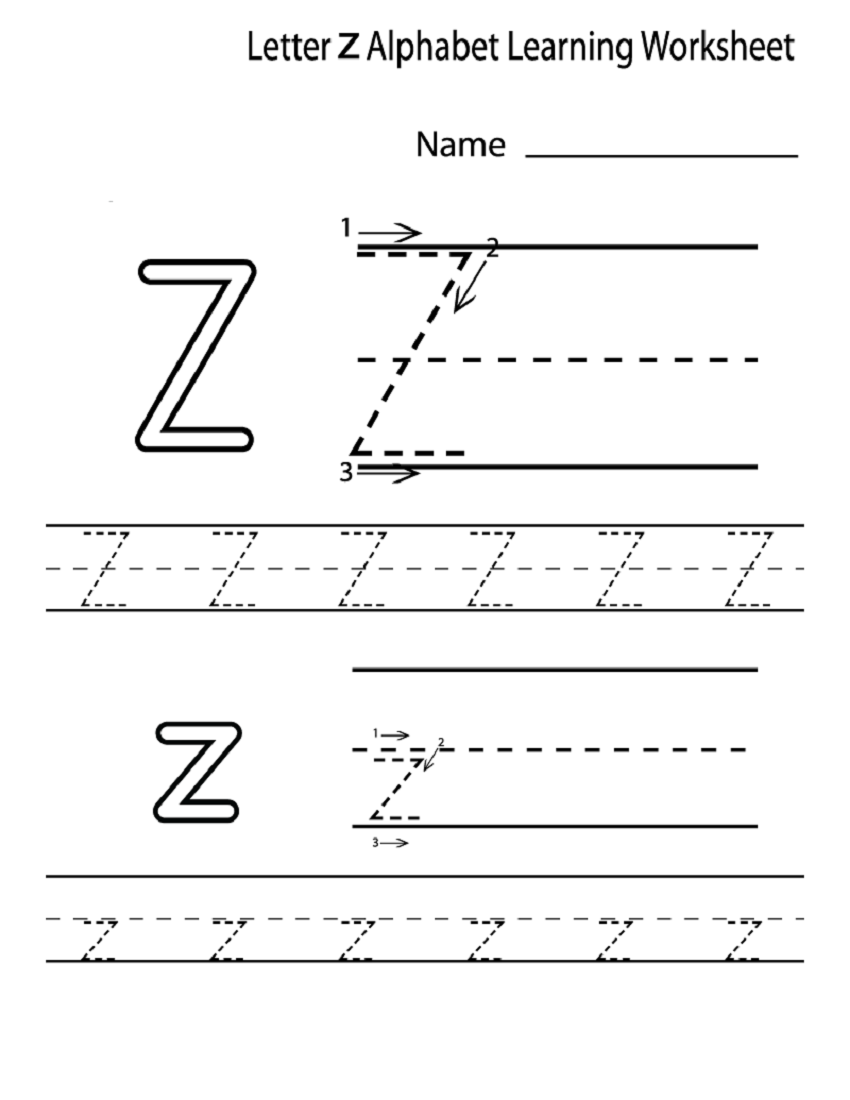 letter z worksheets for preschool image via daycareworksheets.com