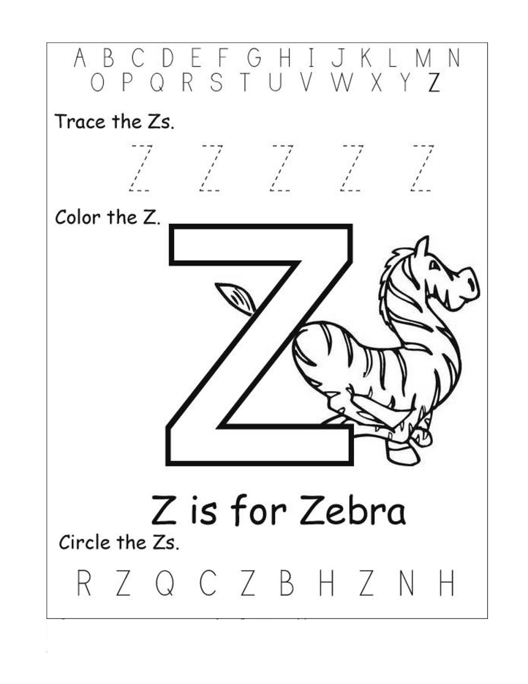 math worksheet : letter z worksheets for kindergarten  activity shelter : Letter A Worksheets Kindergarten