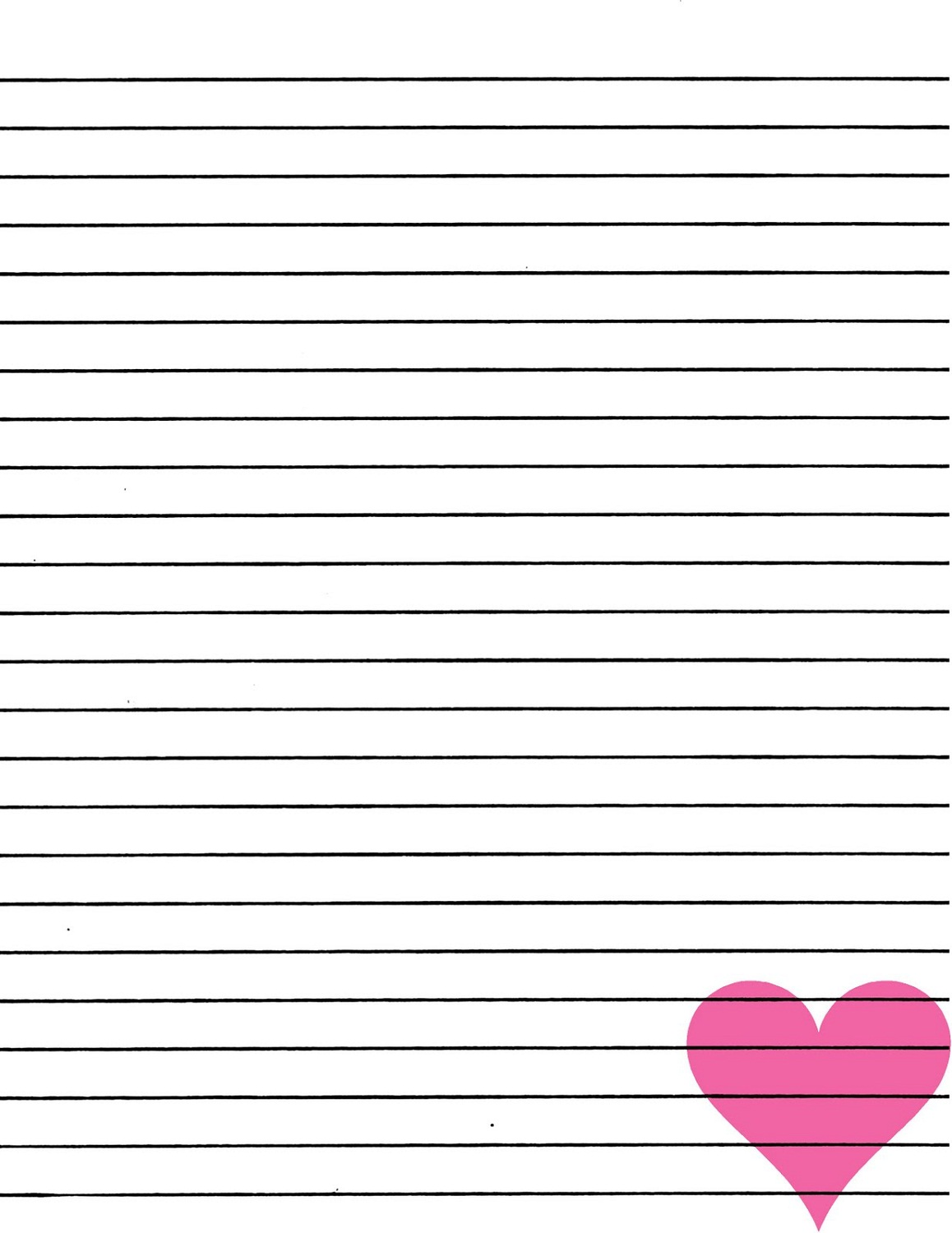 Lined Paper For Writing Pink Heart In Lined Paper To Write On