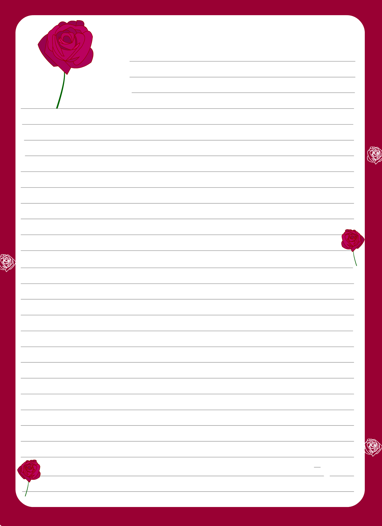 lined paper for writing rose