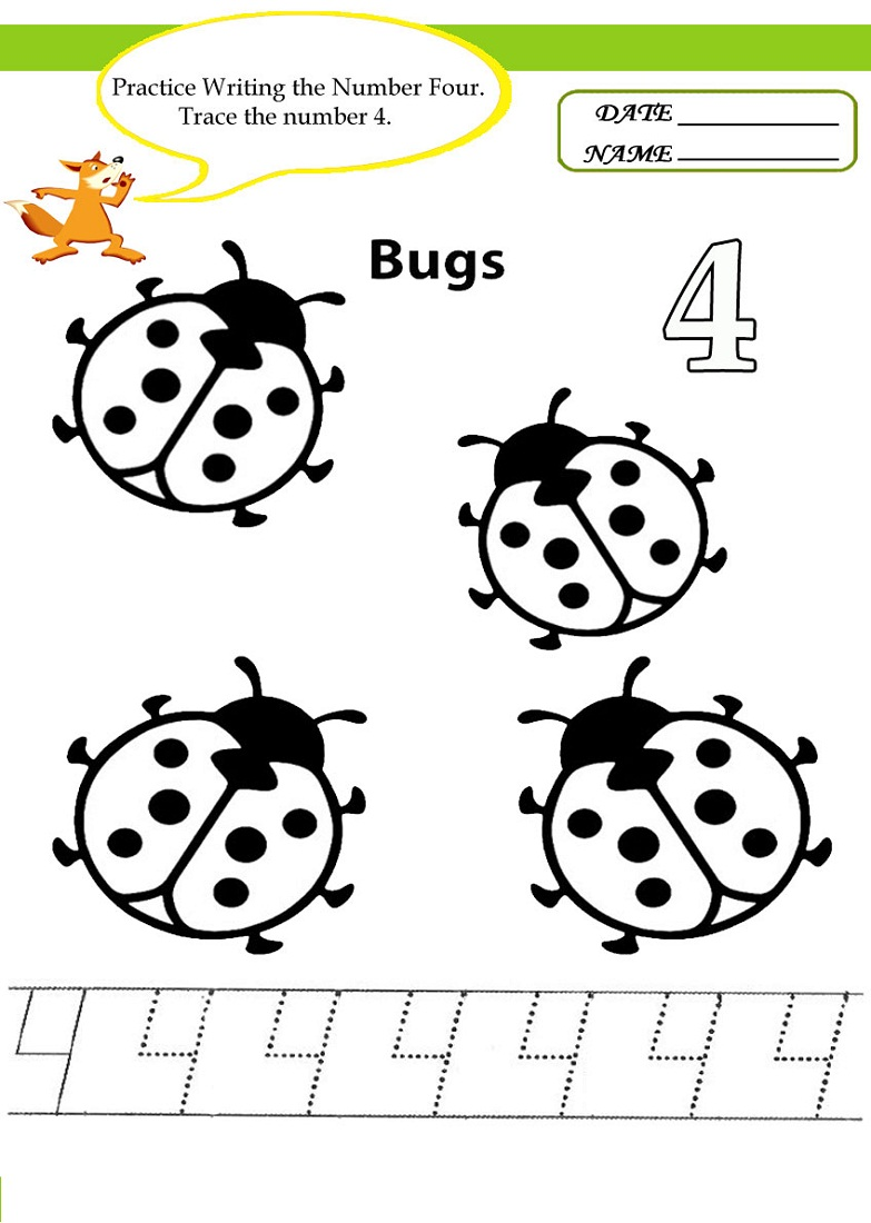 Number 4 Worksheets for Children – Number 4 Worksheets
