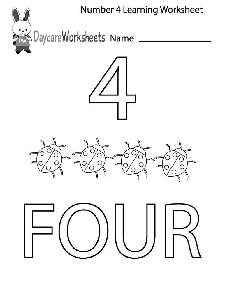 number 4 worksheets preschool