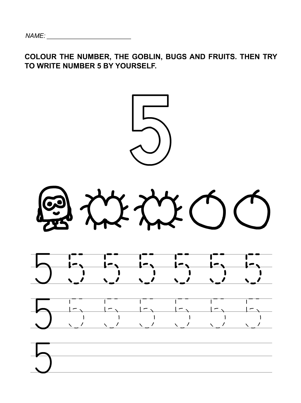 number 5 worksheet free