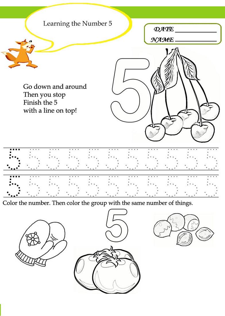 number 5 worksheet preschool