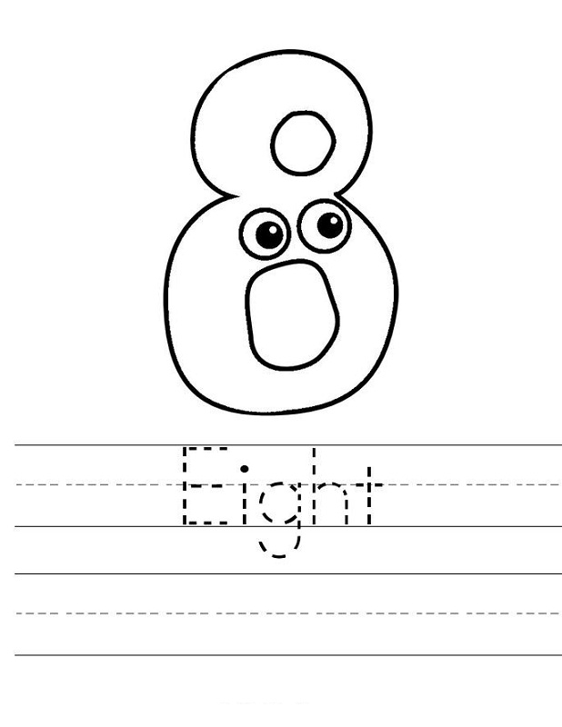 number 8 worksheet for children