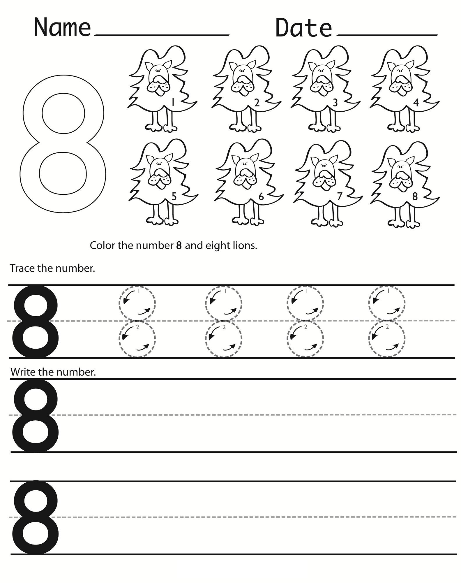 number 8 worksheet for kids
