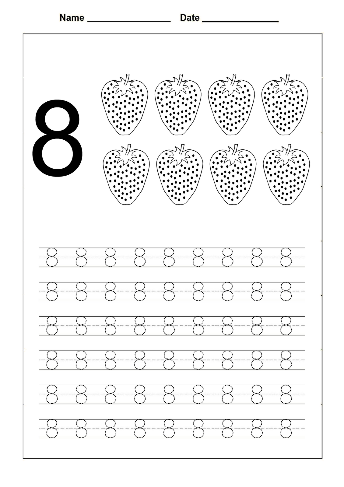 number 8 worksheet preschool