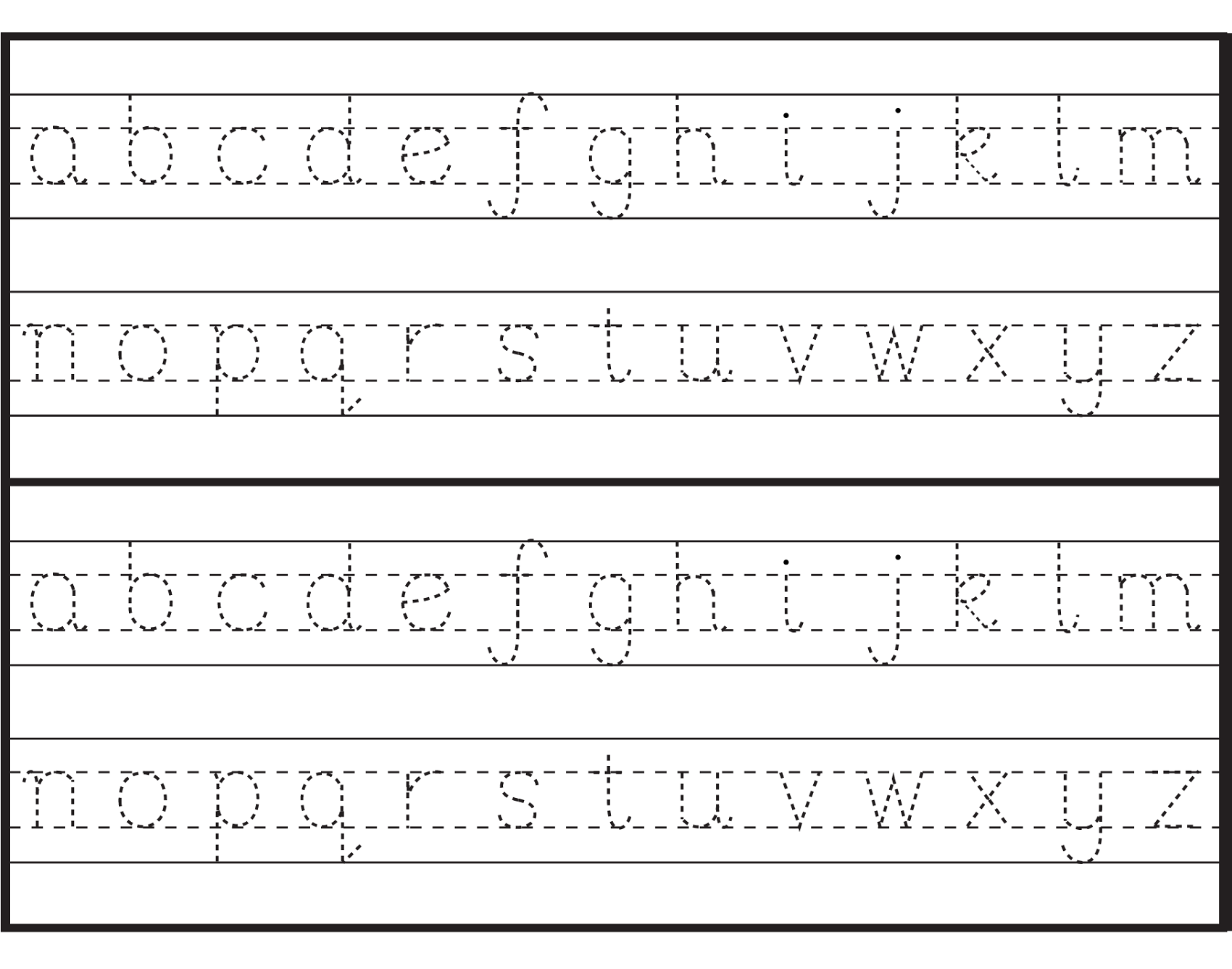 Printables Lowercase Alphabet Tracing printable letter to trace activity shelter letters alphabet