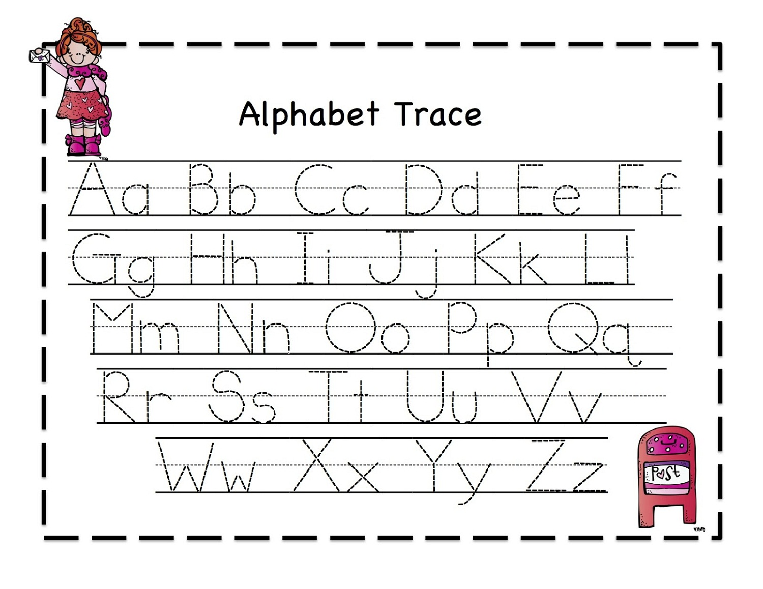 printable letter to trace activity shelter With traceable letters for kids